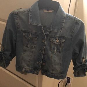 Jackets & Blazers - Denim short sleeve button jacket